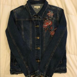 Max Studio Denim Jacket with Embroidered Detail